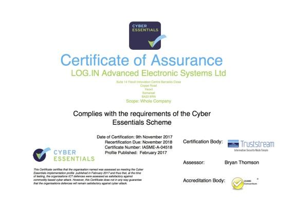 Cyber Essential Scheme Certificate